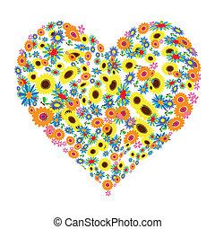 꽃의, 심혼 모양, 디자인