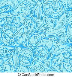 꽃의, 파랑, 꾸밈이다, seamless, pattern.
