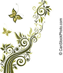 꽃의, 포도 수확, 디자인