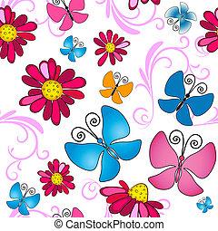 꽃의, seamless, 백색, 패턴
