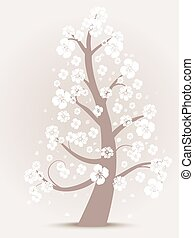 꽃, 나무, 실루엣