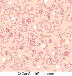 꽃, 버찌, seamless, 패턴