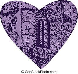 꽃, 심장, 직물, 패턴