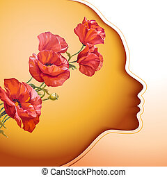 꽃, 여자, 나이 적은 편의, 아름다운