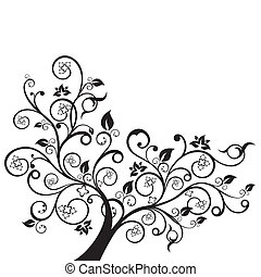 꽃, 와..., 소용돌이, 검정, 실루엣