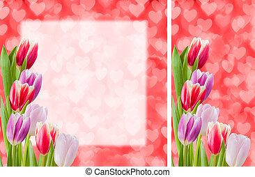 꽃, 우편 엽서, witn, 장소, 치고는, 원본