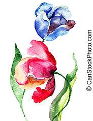 꽃, 튤립, 수채화