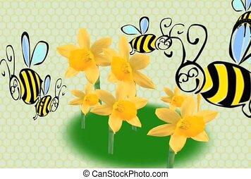 꿀벌, 와..., 꽃