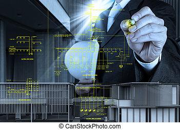 끌기, 화재 경고, 도표, 단일, 개략도, 선, 전자의, 일어나는 사람, 엔지니어
