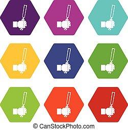 끌, 도구, 에서, 남자, hend, 아이콘, 세트, 색, hexahedron