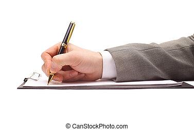 끝내다, 펜, 위로의, 인간 손