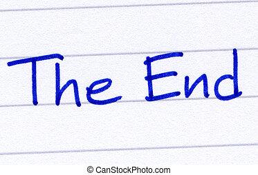 끝, 써진다, 와, 블루 잉크, 백색 위에서, paper.
