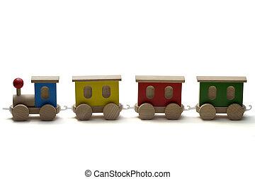 나무의 장난감, 기차, 백색 위에서, 배경