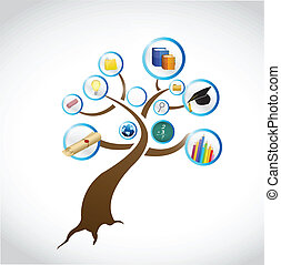 나무, 개념, 디자인, 교육, 삽화