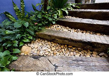 나무, 계단, 와..., 조금의, peeble, 돌
