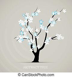 나무, 꽃, 봄, 벡터, art., 떼어내다, 식물, 문자로 쓰는, 배경