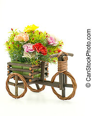 나무, 꽃, 자전거, 백색 위에서, 배경