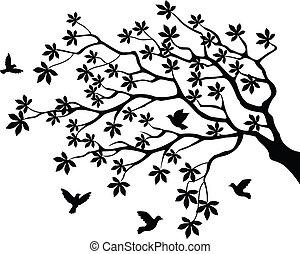 나무, 나는 듯이 빠른, 실루엣, 새