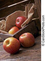 나무, 나무 상자, 사과