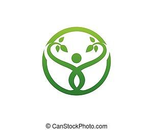나무, 녹색, 사람, 신분 증명서, 벡터, 로고, 본뜨는 공구