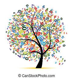 나무, 디자인, 너의, 디지털