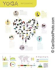 나무, 디자인, infographic, 요가, 너의