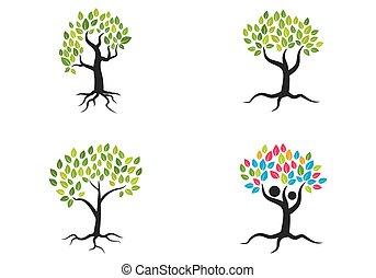 나무, 로고, 벡터