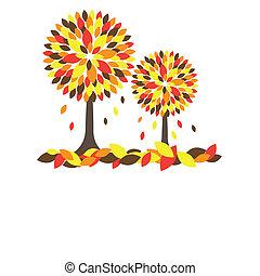 나무., 벡터, 삽화