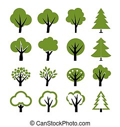 나무, 벡터, 세트