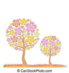 나무, 봄, 배경, 벡터