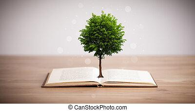 나무, 성장하는, 에서, 열려있는 책