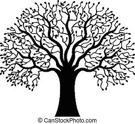 나무, 실루엣, 만화
