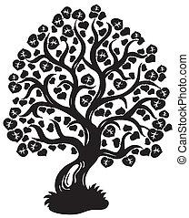 나무, 실루엣, 석회