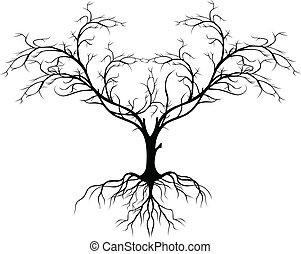 나무, 실루엣, 없이, 잎