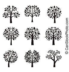 나무, 실루엣, 와, 뿌리, 와..., 은 분기한다