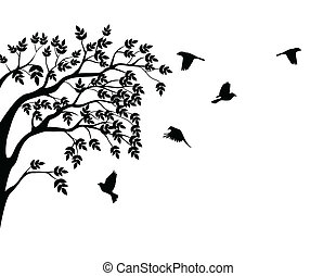 나무, 실루엣, 와, 새 비행