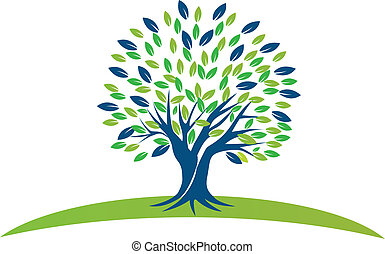 나무, 와, 청록색, 은 잎이 난다, 로고