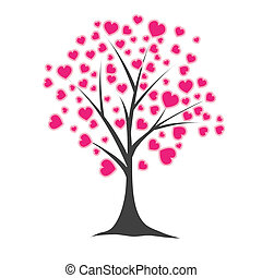 나무, 와, hearts., 벡터, 삽화
