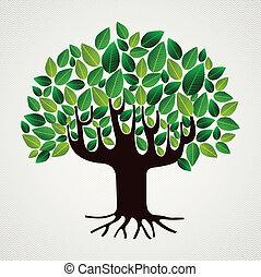 나무, 잎, 걱정, 자연, 개념