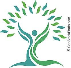나무, 자연, 잎, 건강, 사람., 벡터, 로고, 상징