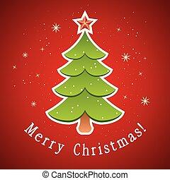 나무, 카드, 크리스마스, 벡터, 인사