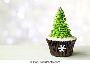 나무, 크리스마스, 컵케이크