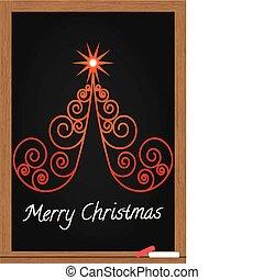 나무, 크리스마스, 통하고 있는, 칠판