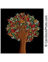 나무, 학교, 개념, 교육, 손