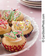 나비, 케이크, 컵