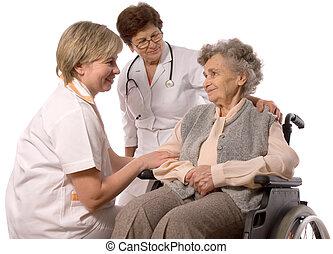 나이가 지긋한 여성, 에서, 휠체어