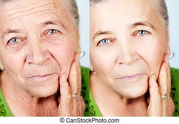 나이 먹음, 개념, 아름다움, 아니오, -, 주름, skincare