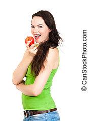 나이 적은 편의, 건강한 여자, 먹는 사과