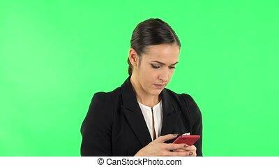나이 적은 편의, 녹색, 스크린, texting, 여자, 전화., 그녀