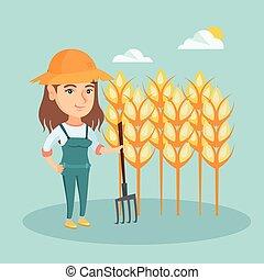 나이 적은 편의, 농부, 서 있는, 에서, a, 들판, 와, pitchfork.